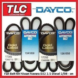 Dayco Fan Belt Kit (4 Belts) Nissan Navara D22 2.5 Diesel 02/08 - on YD25DDT