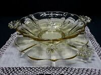Vintage Lancaster Yellow Depression Handled Glass serving Bowl with Underplate