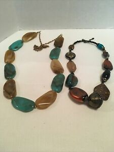 Lot Of 2 Chunky Large Marbled Unique Beaded Costume Necklaces