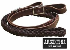 """Showman Braided Argentina Leather Roping Barrel Racing Contest Reins 92"""" Long"""