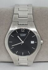 Mens Citizen Stainless Dress Silver Tone Black Dial Analog Watch 2510-S99281 C6