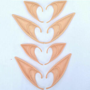 Halloween Flesh Elf Pixie Fairy Pointed Ears Tips Party Cosplay Giant Fancy Prop