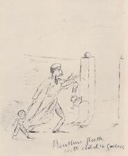 1886 Rare Aubrey Beardsley Sketch - Panthus Fleeth with Child & Gods - Aeneid