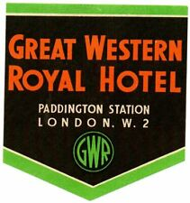 More details for great western railway luggage label - royal hotel - paddington