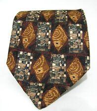 ERMENEGILDO ZEGNA Neck Tie Silk ITALY Brown Diamond Geometric Design 58 Classic