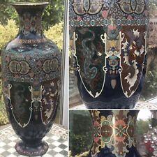 "More details for rare 24"" oriental antique japanese meiji bronze cloisonne dragon hoho bird vase"