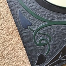 ARTS AND CRAFTS REVIVAL MIRROR CARVED FROM SLATE HANDMADE SIGNED UNUSUAL CELTIC
