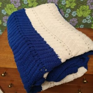 Vintage Blue White Stripe Herringbone Knitted Crochet Wool Blanket / Throw