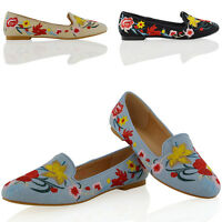 Womens Embroidered Loafers Shoes Ladies Floral Slip On Ballerina Flat Pumps 3-8