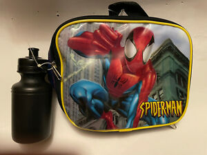 Marvel Amazing Spiderman Kids Lunch Bag/Box Blue/Yellow w/ Free Water Bottle New