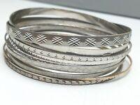 11 Stück echt Silber Armreife 2 mm bis 4 mm breit/835-925 Silber punziert /A112