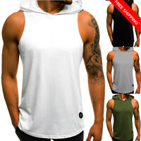 Men's Sleeveless Vest Bodybuilding Hooded Tank Top Muscle Clothing T-Shirt Gym
