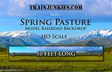 "Train Junkies HO Scale ""Spring Pasture"" Model Railroad Backdrop 120""X18"""
