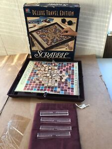 Scrabble Deluxe Travel Edition Milton Bradley Complete Mini Wood Tiles No Manual