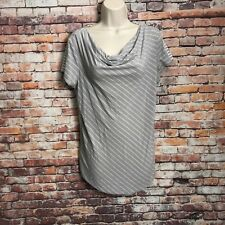 Eddie Bauer Women's Size Large Gray Striped WaterFall Neck Casual T Shirt Top