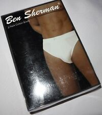 NWT BEN SHERMAN MENS 3 PACK COTTON BRIEFS IN BLACK SIZE S