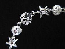 "STERL SILVER Bracelet Sea Shell Sand Dollar Starfish Link 8.5"" 925 6.6g NEW B74"