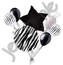 7 pc Black Zebra Print Balloon Bouquet Happy Birthday Baby Shower Animal Stripes