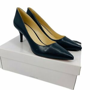 Nine West Women's 9 Navy Blue Margot Heels Pumps Leather Pointed Toe