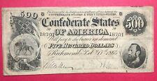1864 ~ $500 Confederate States of America Banknote