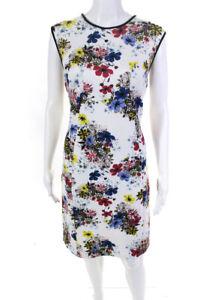 Erdem Womens Floral Neoprene Sleeveless Crew Neck Sheath Dress White Size 10
