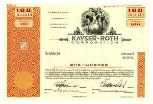 NY. Kayser-Roth Corp., 1950s 100 Shrs Specimen Stock Certificate, VF ABN Orange