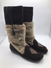 "San Marina Fur Boots Brown Women's Size 10 Suede 13"" Diamond"