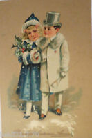 """ New Year, Children, Fashion, Muff, Cylinder "" 1907, Embossed Postcard (26230)"
