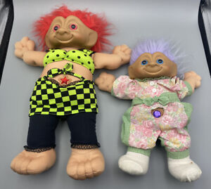 Vintage 2x Lot 18in & 12in Treasure Troll Doll Belly Gem 1991 Ace Novelty LARGE