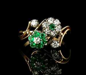 VINTAGE NATURAL COLOMBIAN EMERALD & DIAMOND 14K GOLD RING