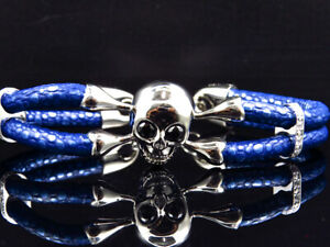 White Gold Finish Simulated Lab Diamond Blue Leather Skull Band Bracelet In 8""