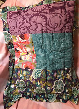 """Anthropologie 1 Quilted Floral Pillow Sham Case Patchwork Multicolor 20X26"""""""