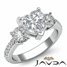 3 Stone Heart Diamond Exquisite Engagement Ring GIA I SI1 14k White Gold 1.4 ct