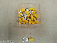 50 Pc ELECTRICAL INSULATED CRIMP TERMINALS YELLOW EYELET CONNECTOR 10.5mm 12Volt