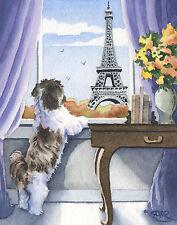 Shih Tzu In Paris Dog Watercolor 8 x 10 Art Print by Artist Dj Rogers
