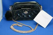 ARIANA GRANDE Black Faux Patent Leather Quilted Crossbody Sm Bag Purse Rose Gold