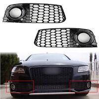 Pair Rs4 Style Honeycomb Mesh Fog Light Grille Parrilla Para 09-12 Audi A4 B8,