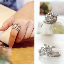 Fashion Queen Crown Pattern Ring Set Rhinestones Two-piece Rings Women