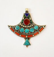 Asian Handmade Sterling Silver Pendant Jewelry Tibetan Turquoise Coral Lapis A2