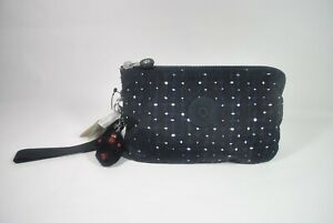 New With Tag KIPLING CREATIVITY XL Extra Large Pouch Wristlet - Tile Print Blue