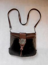 Women Brown Shoulder Bag Zipped with Fur Heavy Antique Brooch Playboy.Size M