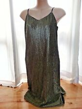 Gold fern bling sparkle party factorie Midi lined FLIP DRESS L 14 NEW