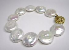 "HUGE 14-15MM WHITE SOUTH SEA COIN PEARL BRACELET 7.5-8"" 14K GOLD CLASP"