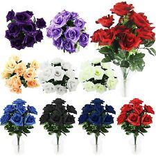 Large 10 Head Open Rose Bouquet Artificial Silk Flowers Craft Memorial