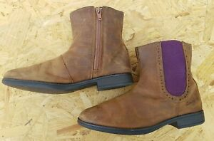 Clarks Brown/Tan Boys Real Leather Ankle Chelsea Casual Comfort Boots UK 2.5 F