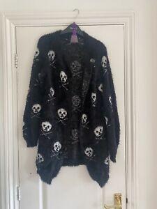 Black Skull & Crossbones Fluffy Cardigan ONE SIZE