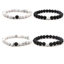 Elastic Bracelet 8mm White Turquoise Volcanic Stone Beads Bracelets