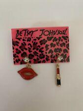 Betsey Johnson Enamel Red Lips & lipsticks White Rhinestone Earrings-BJ80020