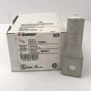 """(1) Burndy YA28A1 Compression Lug White 1-Hole 3/8"""" Stud Index: 298 4/0 AWG ~NEW"""