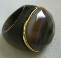 Hand Crafted Hard Wood Ring w/ Faceted BANDED AGATE & Yellow Gold Collar, Sz 8